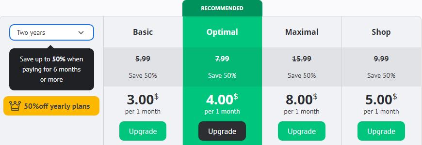 uCoz discounts